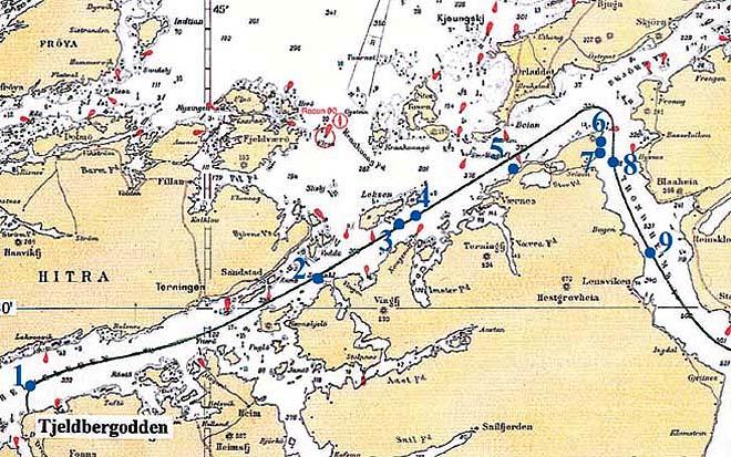 kart over trondheimsfjorden ROV   funn her og der kart over trondheimsfjorden